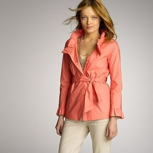 J.CREW Frenchie Slicker coral short trench coat